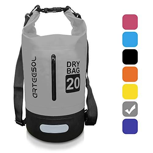BKSTONE Bolsa Impermeable, Dry Bag/Mochila acuática/Bolsa de Supervivencia/Mochila Seca/Ideal para Kayak, Canoa, Pesca (Gris, 30L)
