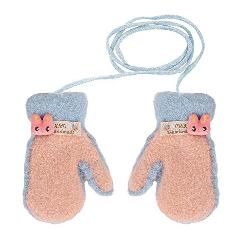 Guanti invernali Unisex Kid Toddler Girl Hang Neck Guanti Full Finger Knit Guanti con String Cartoon...