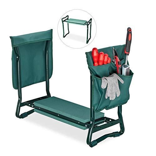 Relaxdays Kniebank, weiches Kniekissen, 2 Taschen, klappbar, Kniehilfe Gartenarbeit, bis 150 kg, HBT 50x60x27,5cm, grün
