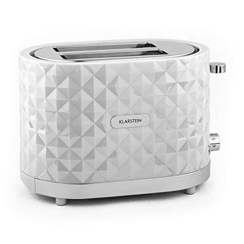 Klarstein Granada Bianca, Tostapane automatico 2 fette, 1000 Watt, Bianco