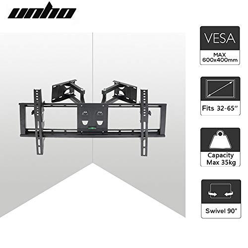 UNHO Supporto TV da Parete angolare orientabile e inclinabile Mobile TV sospeso Schermo LED LCD...