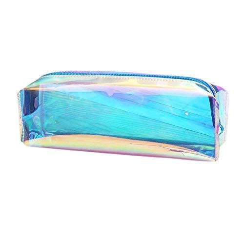 1pz matita della borsa, olografico laser grande colorato trasparente astuccio portapenne scatole...