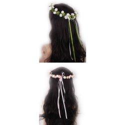 floristikvergleich.de 2x Kopfschmuck Stirnband Künstliche Rose Blumen Garland Brauthochzeits Partei