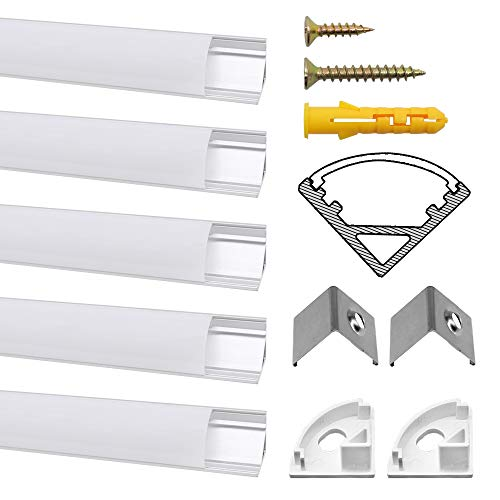 Chesbung 5 Pack V LED Profilo in Alluminio Per Luci LED Strip con copertina, bianca Lattea,Tappi di...