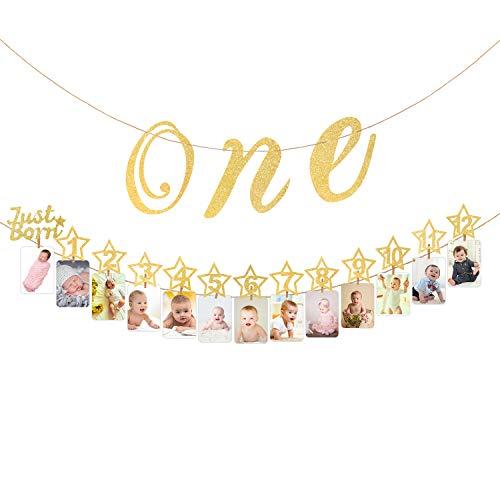 Hifot 1 ° Bandiera Fotografico di Compleanno con Seggiolone Glitter per Oro Bebè Decorazione, Pietra miliare mensile Photo Bunting per Neonati a 12 Mesi Primo Set di Decorazioni di Compleanno (Oro)