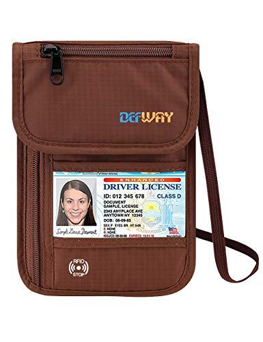 Defway Travel Wallet Neck Rfid Blocking Passport Holder Waterproof Hidden Pouch (Brown)