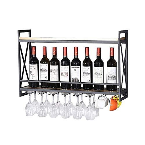 LY-Mobili cantinetta Porta bicchiere da vino rovesciato a parete in ferro battuto Portabottiglie...