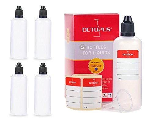 Bottigliette per liquidi 100 ml con imbuto + etichette, ad esempio per liquidi per sigarette elettroniche, flaconi dosatori per liquidi, bottiglie contagocce + tappo scuro con sistema di sicurezza