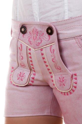 Highlight! Sexy Damen Trachten Ledershorts Pink Princess aus weichem Rindleder, Rosa, 36 - 5