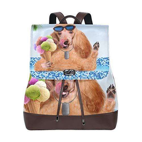 MIGAGA Piscina per cani,Zaino in pelle PU Zaino da college Studente Borsa da viaggio Borse da campeggio per escursionismo
