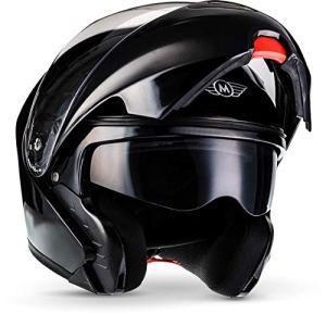 Moto Helmets F19 Sturz-Helm Scooter-Helm Cruiser Helmet Modular-Helm Flip-Up-Helm Roller-Helm Klapp-Helm Integral-Helm Motorrad-Helm, ECE zertifiziert, inkl. Sonnenvisier, inkl. Stofftragetasche 6
