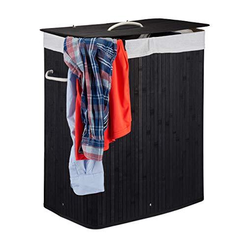 Relaxdays Wäschekorb Bambus mit Deckel, 100 l, Wäschesammler, 2 Fächer, faltbar, Wäschebox eckig, Badezimmer, schwarz