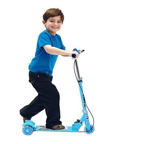 Dayons Road Runner Scooters for Kids Kick Scooter with Brake Bell LED Lights in Wheels and Adjustable Height (3-10 Years - Multi Color)