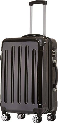 BEIBYE Zwillingsrollen 2048 Hartschale Trolley Koffer Reisekoffer Taschen Gepäck in M-L-XL-Set (Schwarz, L)