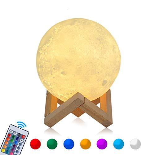 15cm RGB Mond Lampe LED Moon Nachtlicht Dimmbare Touch COSANSYS Nachtlampe tragbares mit Fernbedienung, USB Aufladung,16 Farbe Wählbar Dekoleuchte für Schlafzimmer,Cafe, Bar als Geschenk