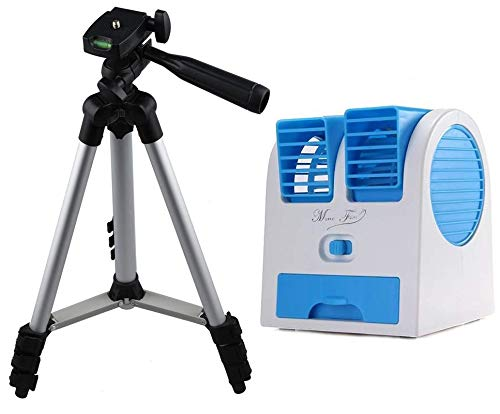 Starford Universal Mini Portable Dual Bladeless Powerfull Cooler with in Built Cooling Ice Tray & 3110 Aluminium Framed Light Weight Tripod Stand for Outdoor Photoshoots,Vlogging