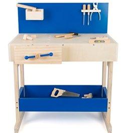 10839 Banco di lavoro per bambini con accessori small foot in legno naturale e blu, con grande piano