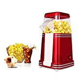 KJRJBD Heißluft-Popcorn 1100W Schneller Popcorn-Hersteller Abnehmbarer Deckel Kein Öl Benötigt Rot 16 * 30 * 11cm