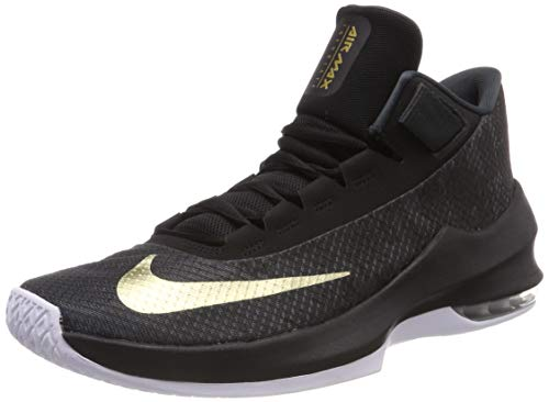 Nike Herren Air Max Infuriate 2 Basketballschuhe, Schwarz (Anthracite/Metallic Gold/Black/White 002), 43 EU
