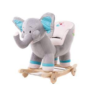 del bebé del Caballo Mecedora niños de la Felpa Interactivo Permanente Ride-On Caballo del Juguete con Sonido para niños de 3-6 años (Color : Gris, tamaño : 60X28X82CM)