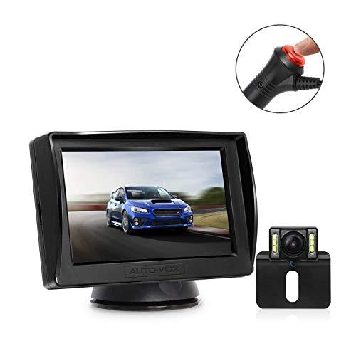 AUTO-VOX M1PRO Telecamera Retromarcia con Monitor LCD da 4,3 '', Telecamera Posteriore Impermeabile IP68 con 6 LED, Visione Notturna, Grandangolo 165 °, Retrocamera Cablata Aggiornata