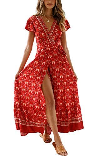 ECOWISH Damen Kleider Boho Sommerkleid V-Ausschnitt Maxikleid Kurzarm Strandkleid Lang mit Schlitz Weinrot M