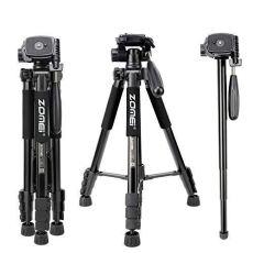 ZOMEi Q222 Ligero trípode de Aluminio Portátil Soporte para cámara de Viaje portátil con Cabezal panorámico de 3 vías y Bolsa de Transporte para Canon Nikon DSLR