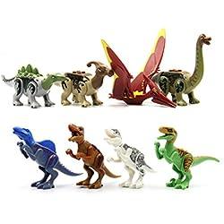 Set de minifigura de dinosaurio 8 - Stegosaurus, Parasarolophus, Pteranodon, Alamosaurus, Spinosaurus, Tyrannosaurus, T-Rex, Velociraptor - Compatible con la principal marca de bloques de construcción