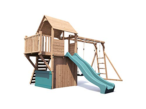 This swing set boasts six different play features for kids to enjoy a range of activities. The construction is solid and it's covered by an industry-leading 10-year warranty. It's super expensive but worth it.
