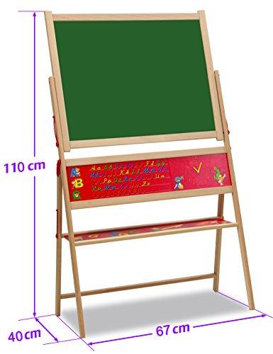 Eichhorn 100002569 – Lavagna Magnetica in Legno con Cavalletto, Alta da 115 cm, Gessetti color