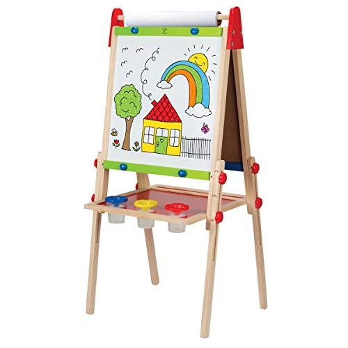 Hape E1010 - Spiel-Tafel, magnetisches Whiteboard und Kreidetafel, höhenverstellbar, inklusive Malpapier und -Halterung, aus Holz