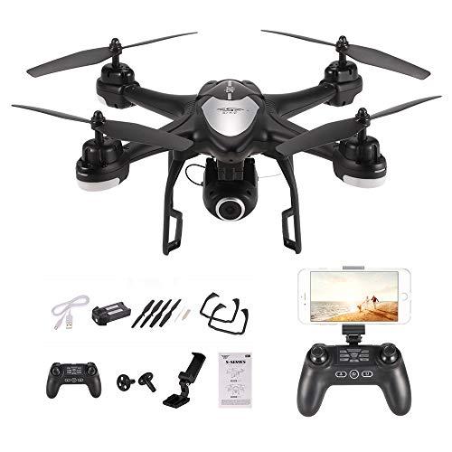 Goolsky S30W 2.4G 720P HD Telecamera Wifi FPV RC Quadcopter Selfie Drone con posizionamento GPS One-Key Return (nero)