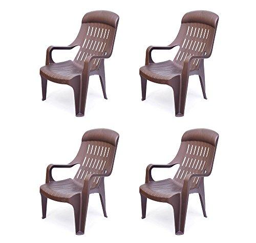 @home by Nilkamal Weekender Garden, Set of 4 Chair (Weather Brown)