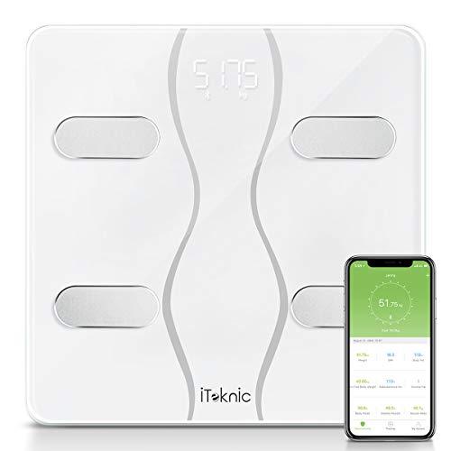 Bilancia Impedenziometrica iTeknic Bilancia Diagnostica Digitale Bluetooth Smart Bilancia Massa Magra e Grassa Misura 13 Dati Grasso Corporeo, Grasso Viscerale, Massa Muscolare, BMI per Android e iOS