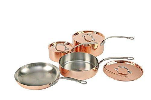 Topf- und Pfannen-Set, mit Deckeln, enthält 2 Töpfe, 1 Pfanne und 1 Sautépfanne im französischen Stil, aus Kupfer