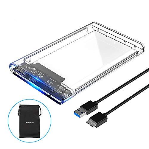 ELUTENG Box Esterno per SSD/HDD Trasparente 2.5 Pollici Supporta UASP SATA III 5Gbps Super velocità...