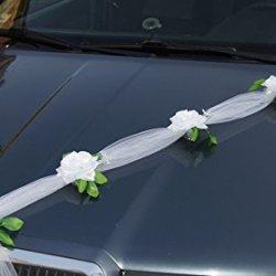 floristikvergleich.de 1x PKW Dekoration Autodekoration Girlande mit Tüll und Rosen weiss 1,70m mit Saugnäpfe