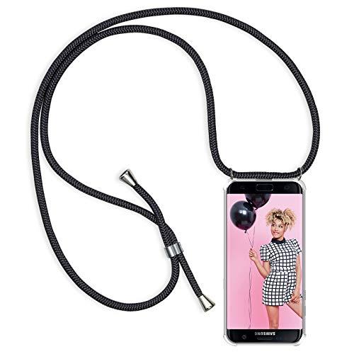 ZhinkArts Handykette kompatibel mit Samsung Galaxy S7 Edge - Smartphone Necklace Hülle mit Band - Schnur mit Case zum umhängen in Schwarz