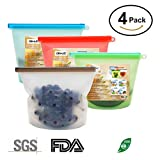 Reusable Silicone Food Storage Bag, Airtight, Leak Resistant Seal Food Preservation Container for Fruits Vegetables Meat Fridge Food Storage and Kitchen Cooking Utensil (1L)