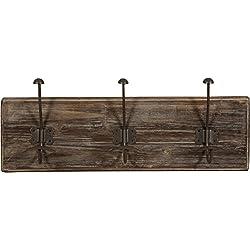 Attaccapanni da parete in legno massiccio e ferro forgiato a mano finitura legno anticato 58x10x21 cm