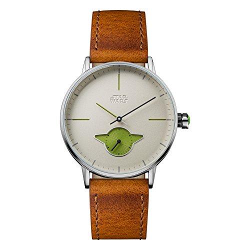 Star Wars Herren Datum klassisch Quarz Uhr mit Leder Armband STAR476