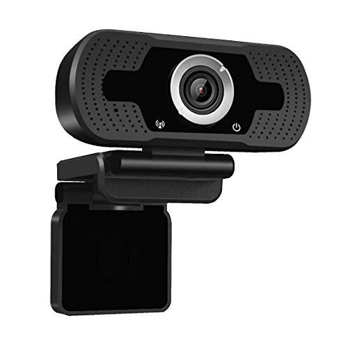 Dericam 1080P Full HD Live-Streaming-Webcam, USB-Desktop- und Laptop-Webcam, Mini-Plug-and-Play-Videoanrufcomputerkamera, eingebautes Mikrofon, Flexibler drehbarer Clip, W2, Schwarz