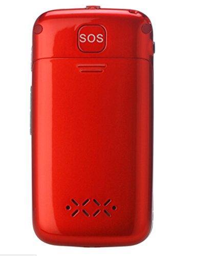 Eg520Senior débloqué GSM téléphone Portable, Bouton SOS, Compatible avec Une Aide auditive Rouge 26