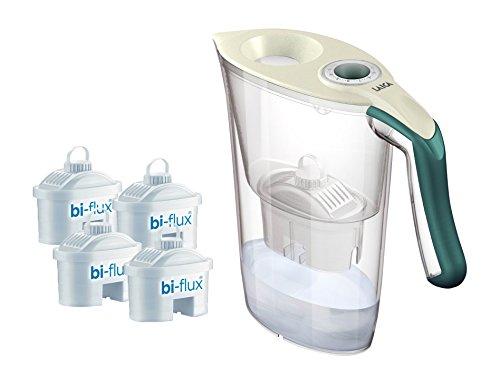 Laica Kit J9059 Caraffa Filtrante per il Trattamento dell'Acqua Carmen Tosca con 4 Filtri Bi-Flux, Crema e Verde Scuro