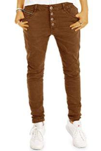 Bestyled-Damen-Jeans-Tapered-Baggy-Boyfriend-Hose-in-lockerer-Stretchfit-Passform-mit-Knopfleiste-j19g-2-34XS-Camel