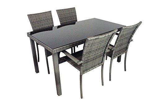 AVANTI TRENDSTORE - Arezzo - Set da giardino in ecorattan grigio, 4 sedie e 1 tavolo con vetro nero, dimensioni LAP: tavolo 150x75x80 cm, sedia: LAP 46x90x62 cm