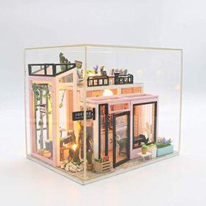 KQKLQQ Miniatura casa de muñecas de Madera Mini-House, Horas luz del Estudio del Hecho a Mano Modelo de la Asamblea (con Cubierta de Polvo)