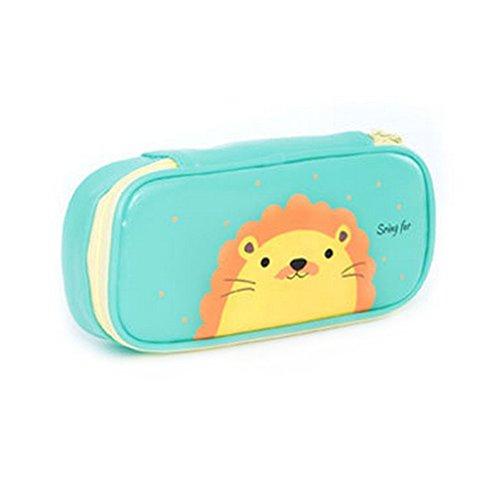 Cosanter Pencil Case bag cute Lion modello in similpelle con cerniera in pelle per occhiali da...