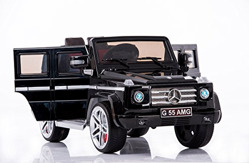 #Kinder-Elektroauto Mercedes G AMG, schwarz lackiert, original lizenziert, batteriegetrieben, zwei Motoren, 12 V Akku, Fernbedienung, Weiche EVA Räder#