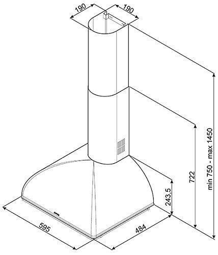 Smeg KS59RAE Cappa aspirante a parete Rame 820m³/h A cappa aspirante